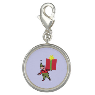 Elf With Red Box round charm