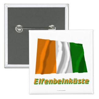 Elfenbeinküste Fliegende Flagge mit Namen 15 Cm Square Badge