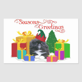 Elfin Pekingese Puppy Christmas Rectangular Sticker