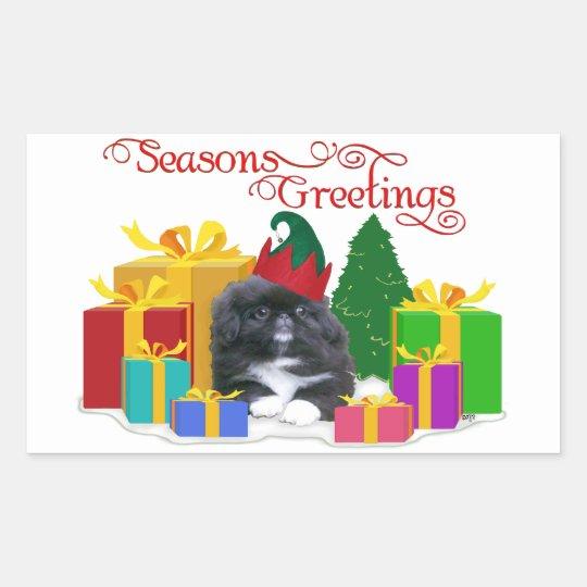 Elfin Pekingese Puppy Christmas Rectangular Sticker