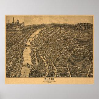 Elgin Illinois 1880 Antique Panoramic Map Posters