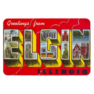 Elgin Illinois IL Large Letter Postcard Magnet !!!