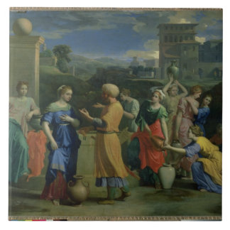 Eliezer and Rebecca at the Well, 1648 (oil on canv Large Square Tile