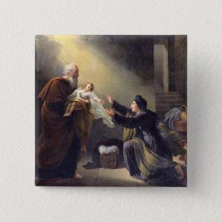 Elijah Resuscitating the Son 15 Cm Square Badge
