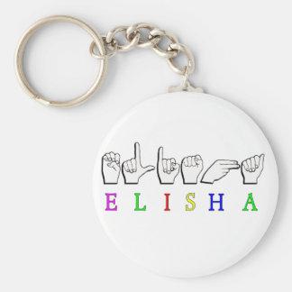 ELISHA  FINGERSPELLED ASL SIGN NAME MALE BASIC ROUND BUTTON KEY RING