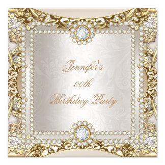 Elite Cream Gold Diamond Damask Birthday Party Card