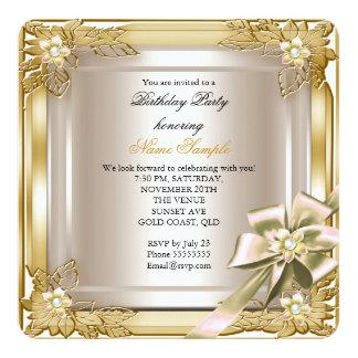 Elite Elegant Birthday Party Gold Cream Bow 13 Cm X 13 Cm Square Invitation Card