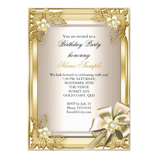 Elite Elegant Birthday Party Gold Cream Bow L
