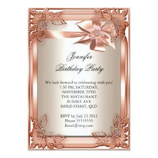 "Elite Elegant Birthday Party Orange Cream 5"" X 7"" Invitation Card"