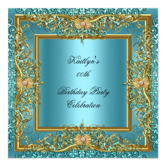 "Elite Elegant Teal Gold on Gold Birthday Party 5.25"" Square Invitation Card"