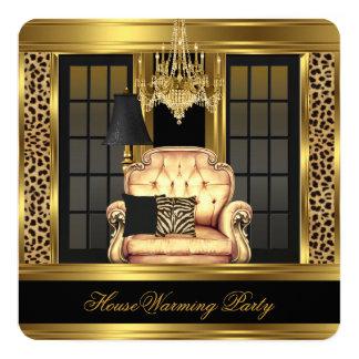 Elite Housewarming Party Chandelier Gold Chair 13 Cm X 13 Cm Square Invitation Card