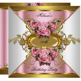 Elite Pink Roses White Gold Birthday Party Card