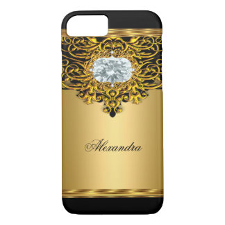 Elite Regal Gold Black Ornate Diamond Jewel 2 iPhone 7 Case