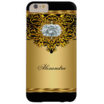 Elite Regal Gold Black Ornate Diamond Jewel Barely There iPhone 6 Plus Case