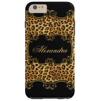 Elite Regal Leopard Gold Black animal print 2 Tough iPhone 6 Plus Case