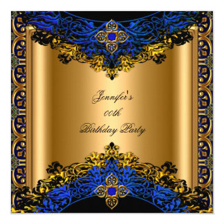 Elite Royal Blue Gold Black Birthday Party Card