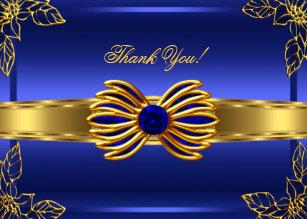 Elegant Blue Gold Thank You Cards Zazzle Uk