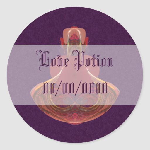 Elixir of Love Potion Bottle Fractal Round Stickers