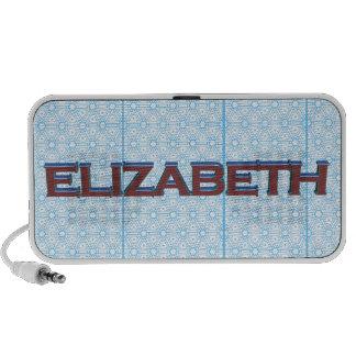 Elizabeth 3D text graphic over light blue lace Laptop Speakers