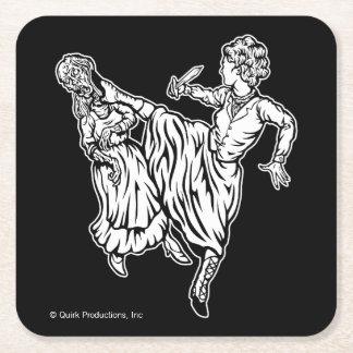 Elizabeth Bennett Kicks Ass Square Paper Coaster