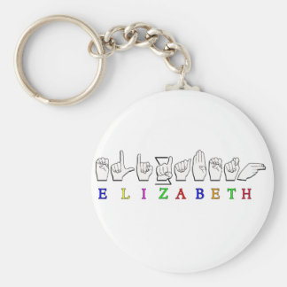 ELIZABETH  FINGERSPELLED ASL SIGN NAME MALE BASIC ROUND BUTTON KEY RING