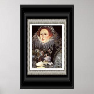 Elizabeth I and her kitten Poster