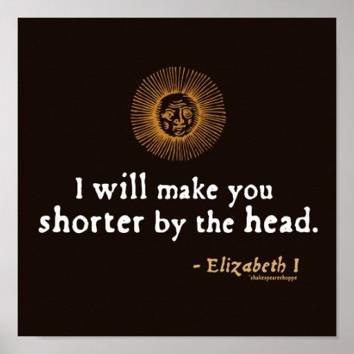 Elizabeth I Quote on Beheading Poster