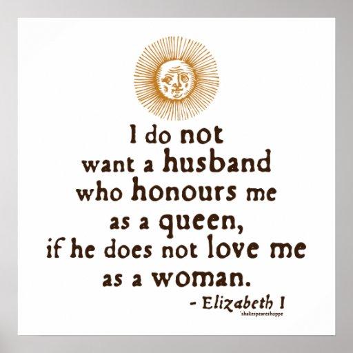 Elizabeth I Quote on Husbands Poster