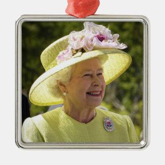 Elizabeth II, Queen of the United Kingdom Silver-Colored Square Decoration