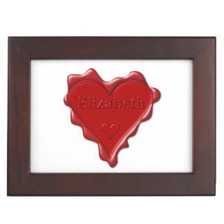 Elizabeth. Red heart wax seal with name Elizabeth. Memory Box