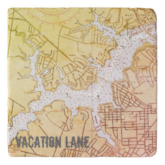 Elizabeth River VA Nautical Chart Trivet