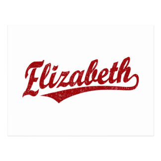 Elizabeth script logo in red postcard