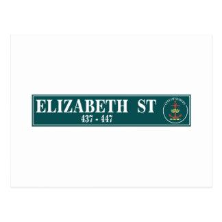 Elizabeth Street, Sidney, Australian Street Sign Postcard