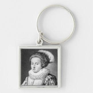 Elizabeth Stuart, Queen of Bohemia Silver-Colored Square Key Ring