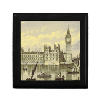 Elizabeth Tower Big Ben Thames London Vintage Small Square Gift Box