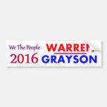 ELIZABETH WARREN & ALAN GRAYSON 2016 BUMPER STICKERS