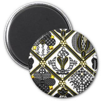 Elizabethan Blackwork tile 6 Cm Round Magnet
