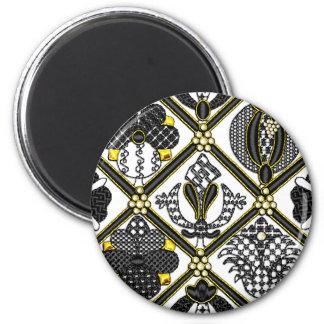 Elizabethan Blackwork tile Magnets