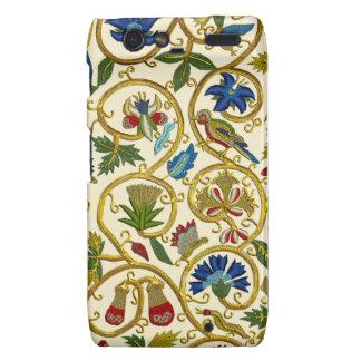 Elizabethan Swirl Embroideries - Goldwork imitatio Motorola Droid RAZR Case