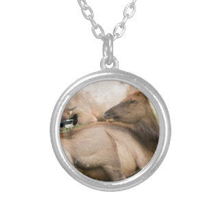 Elk and Bird Silver Plated Necklace