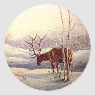 ELK by SHARON SHARPE Classic Round Sticker