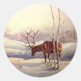 ELK by SHARON SHARPE Round Sticker