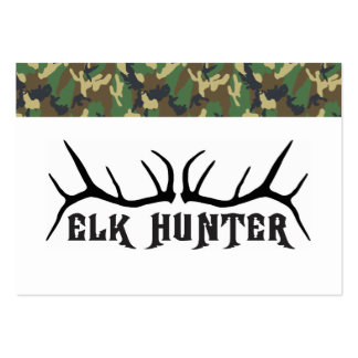 Elk HUnter With Camo Border Large Business Cards (Pack Of 100)