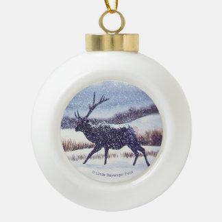 Elk in the Snow Ceramic Ball Decoration