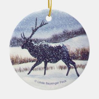 Elk in the Snow Round Ceramic Decoration