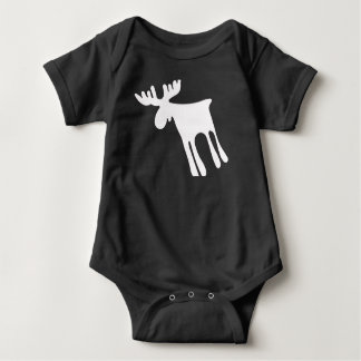 Elk/Moose, white, Sweden Baby Bodysuit