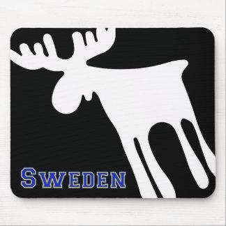 Elk/Moose, white, Sweden Mouse Mat