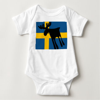 Elk/Moose with the Swedish flag Baby Bodysuit