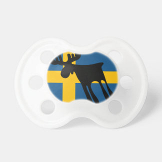Elk/Moose with the Swedish flag Baby Pacifiers