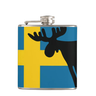 Elk/Moose with the Swedish flag Hip Flask